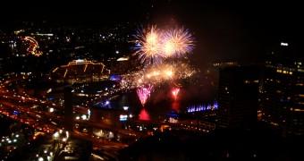 Kembang api Australia Day di Darling Harbour, Sydney