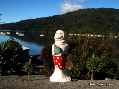 Kotak pos anjing laut di Queen Charlotte Sound, Selandia Baru