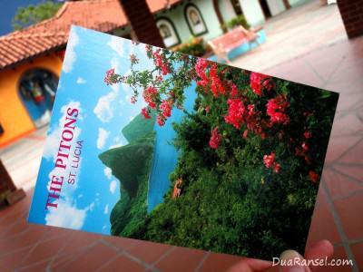 Kartu Pos Dua Ransel: The Pitons, Saint Lucia (Karibia)