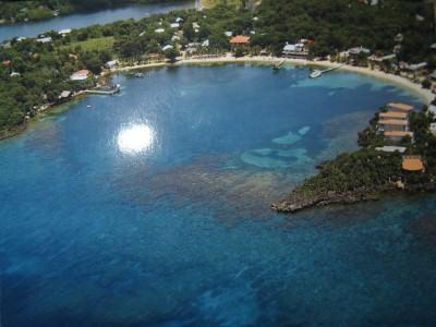 Half Moon Bay aerial postcard - Roatan Island, Honduras