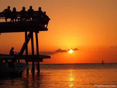 Typical sunset in Half Moon Bay, Roatan, Honduras
