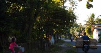 Pemandangan jalanan di sebuah desa dekat Blitar di Jawa Timur