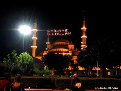 Blue Mosque di malam hari (Istanbul, Turki)
