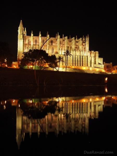 Spain - Mallorca - Palma Cathedral reflection at night