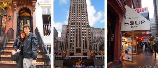 Kiri ke kanan: Townhouse-nya The Cosby Show, 30 Rock (Rockefeller Center), Soup Nazi (Seinfeld)