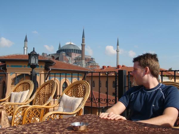 Hostel roof top and Hagia Sophia, Istanbul, Turkey