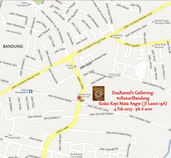 Peta Kedai Kopi Mata Angin untuk kopdar #2RanselBandung
