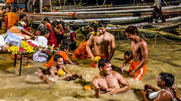 Hindus bathe in the sacred Ganges River, Varanasi