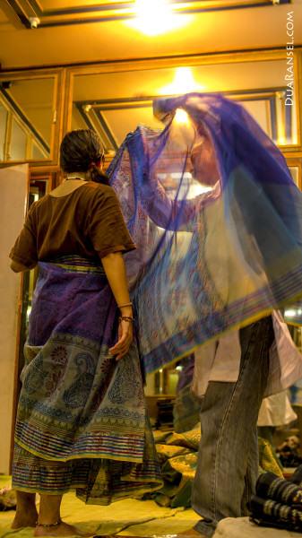 India Varanasi sari shop
