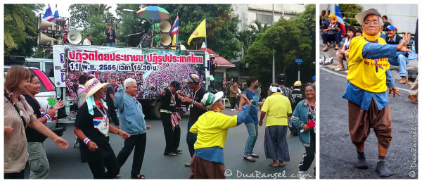 Dancing party during Bangkok Protest 2013 near Government House