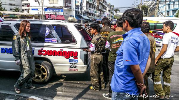 Dead bodies of Red Shirts inside this ambulance. The bodies were found around Rajamangala Stadium (near Rakhamhaeng University, Bangkok) - Red shirts' basecamp, upon a bloody fight with yellow shirts