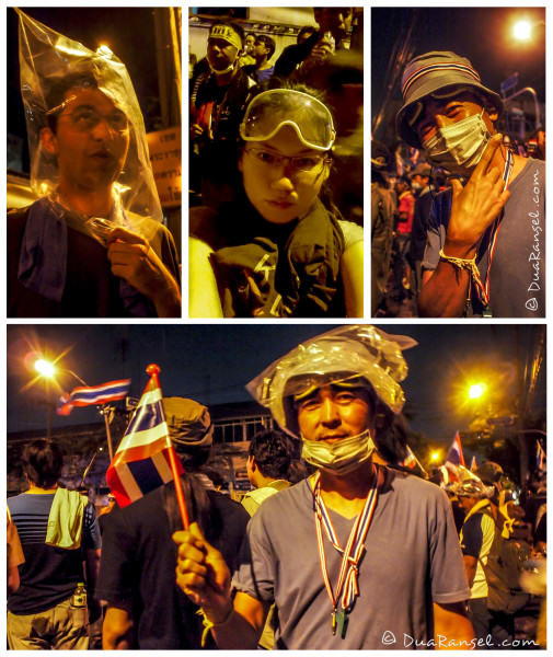 Tear gas survival kits: Goggles, face mask, wet towel,  and plastic bag over the head