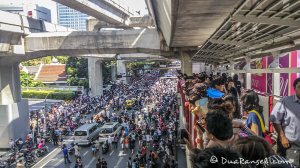 Thousands of Yellow shirts supporters protesting in front of Police Headquarters Siam Bangkok Thailand