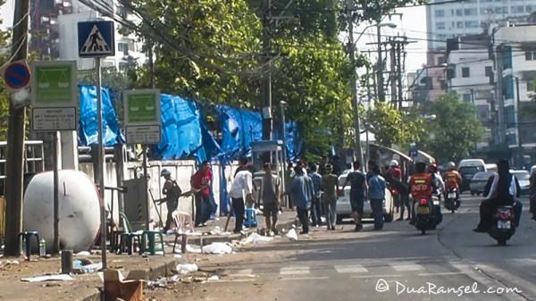Violence around Rajamangala Stadium Bangkok during riot yellow red shirts