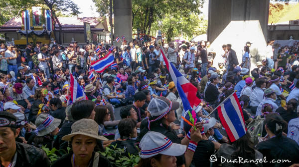 Yellow shirts peaceful riot in front of Police Headquarters Siam Bangkok Thailand