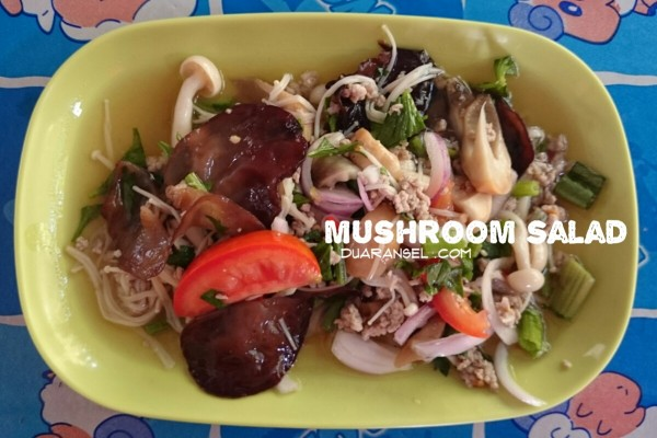 Thai sour and spicy mushroom salad